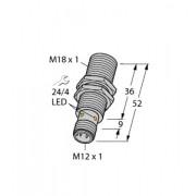 Czujnik, indukcyjny z rozszerzonym zakresem detekcji BI8-M18-AP6X-H1141, PNP, NO, M18, 8 mm, 46150