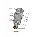 Czujnik, indukcyjny z rozszerzonym zakresem detekcji BI15-M30-AP6X-H1141, PNP, NO, M30, 15 mm, M12, 46185