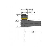 Przewód podłączeniowy, WKC4T-2/TXL, 6625512, 2 m; 3 x 0,34 mm², M12